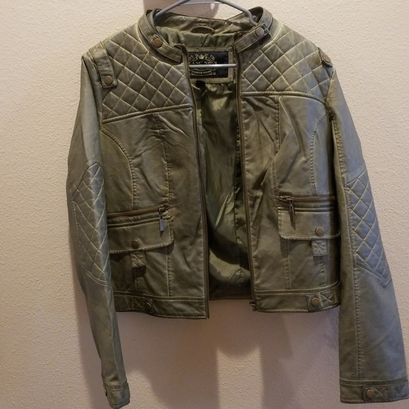 blanc noir Jackets & Blazers - Blanc Noir Olive Green Faux  Leather Jacket (nwot)